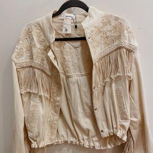 Zara Cream Fringed Womens Jacket